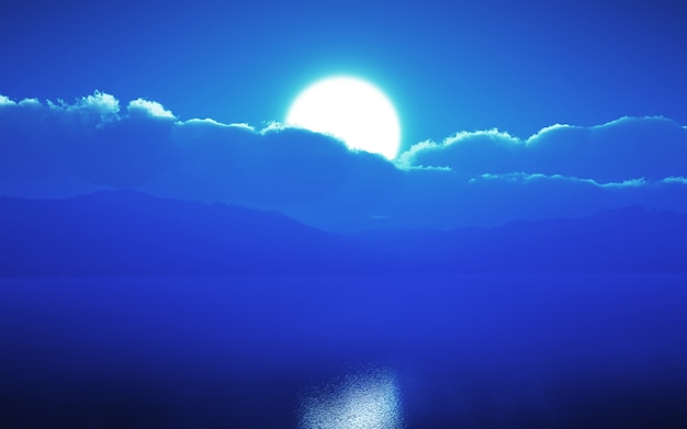 3d moonlit sky over the ocean