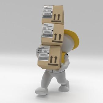 3d morph man builder carrrying boxes