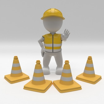 3d morph man builder with hazard cones