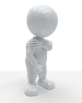 3d morph man stringendo il corpo nel dolore