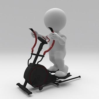 ステッパーで運動する3dモーフマン