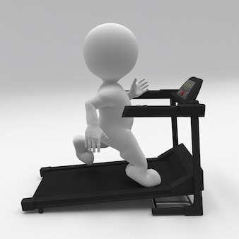 3d morph man exercising on treadmill