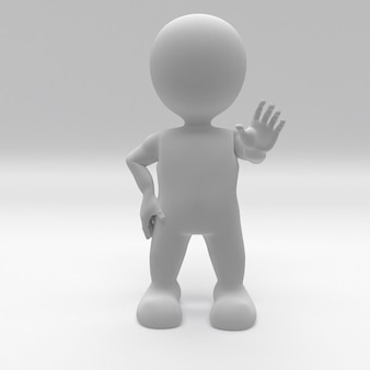 停止するために手を差し伸べる3dモーフマン
