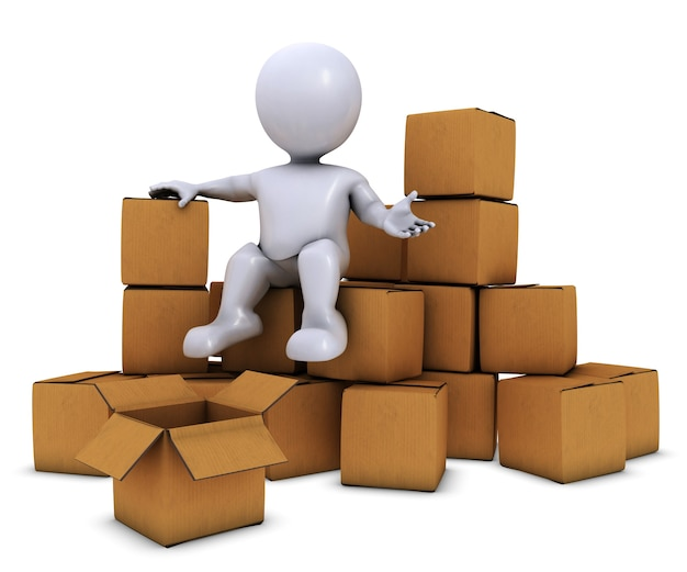 3d morph man with shipping boxes