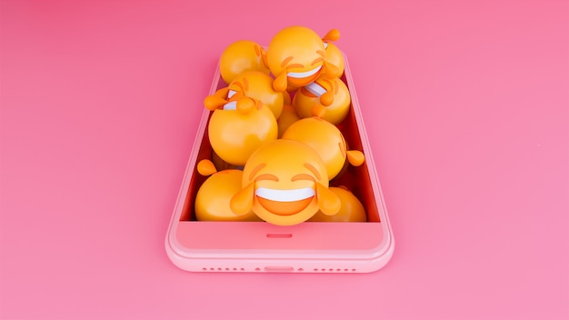 3d motion emoji face on smart phone