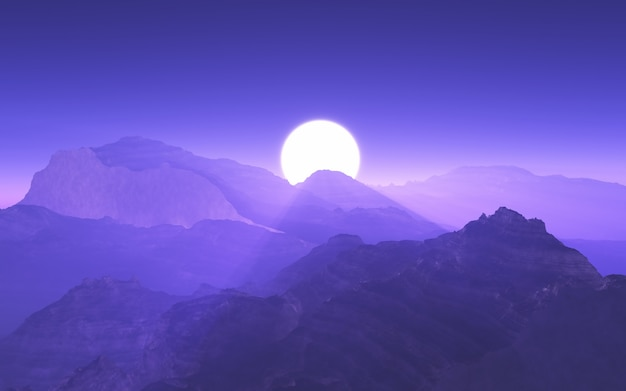 3d mountain landscape with purple sunset sky