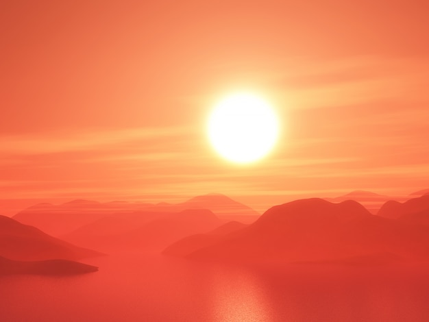 3d mountain range against a sunset sky
