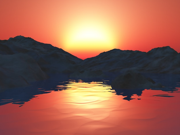 3d mountains with ocean against a sunset sky