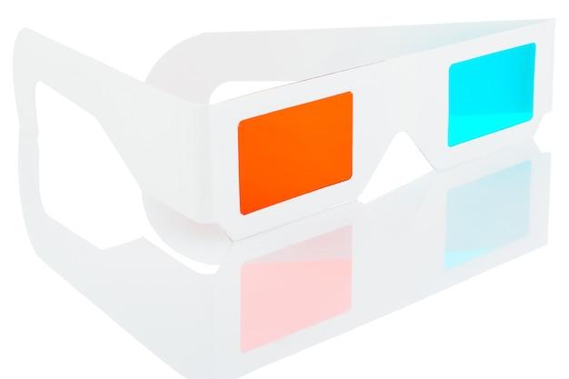 白い背景で隔離の3d映画のメガネ。反射のあるステレオメガネ。