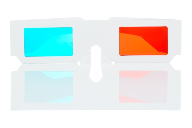 3d movie glasses isolated on a white background. stereo glasses with reflection.