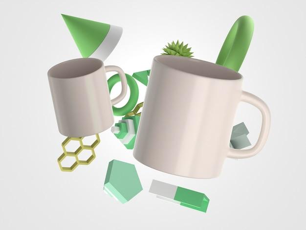 飛行幾何学的形状の正面図と3dマグカップ