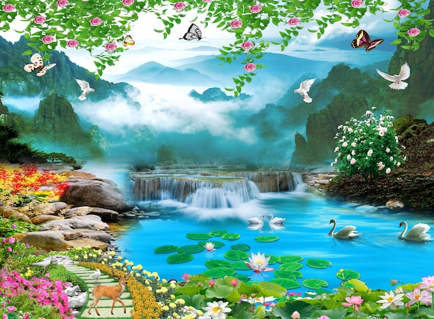 3d mural colorful landscape flowers branches multi colors with trees and lake water waterfall
