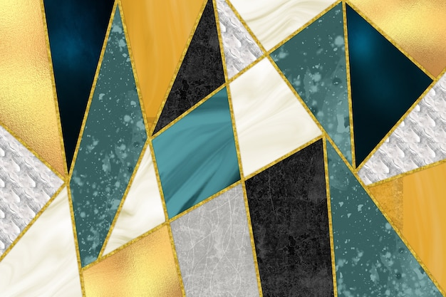 3d mural modern wallpaper decorative golden lines and marble turquoise white and orange shape