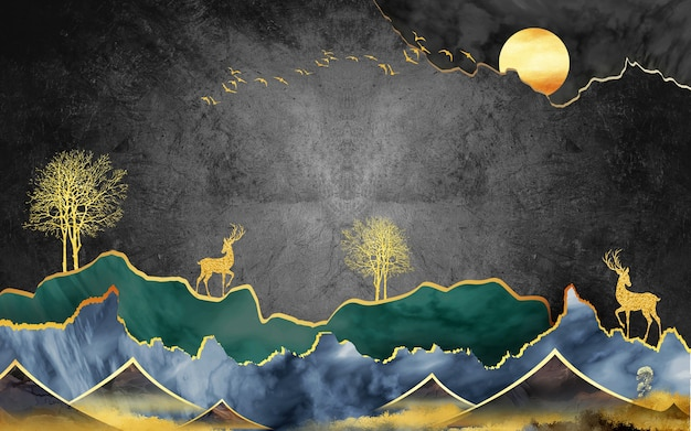3d mural wallpaper illustration canvas art  landscape in black background green and blue mountains