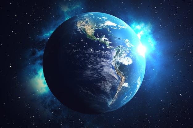 3dレンダリングネットワークと地球上の宇宙空間でのデータ交換。地球の周りの接続線。青い日の出。グローバルな国際接続。 nasaから提供されたこの画像の要素