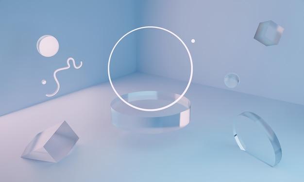 3dネオンガラスの幾何学的図形が部屋の隅に浮かんでいます。