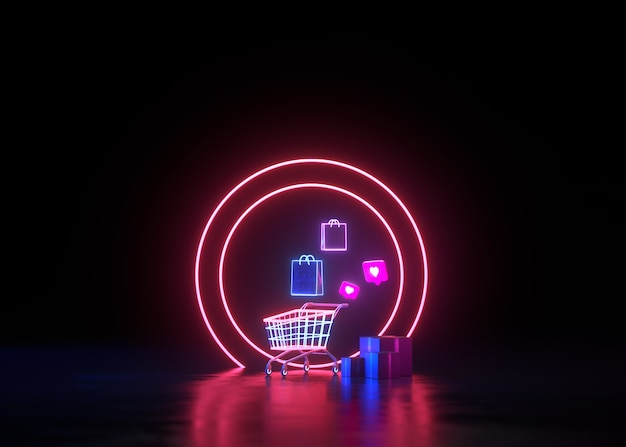 3d 네온 온라인 쇼핑 및 스쿠터 서비스 개념으로 무료 배송