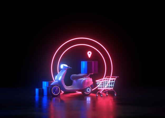 3d neon online shopping and free delivery service concept