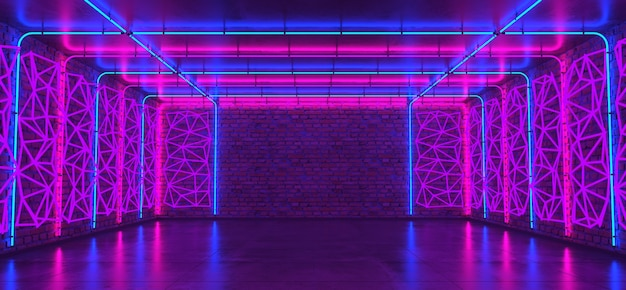 3d neon room, brick wall, concrete floor, glowing neon tubes light, geometric panels, background