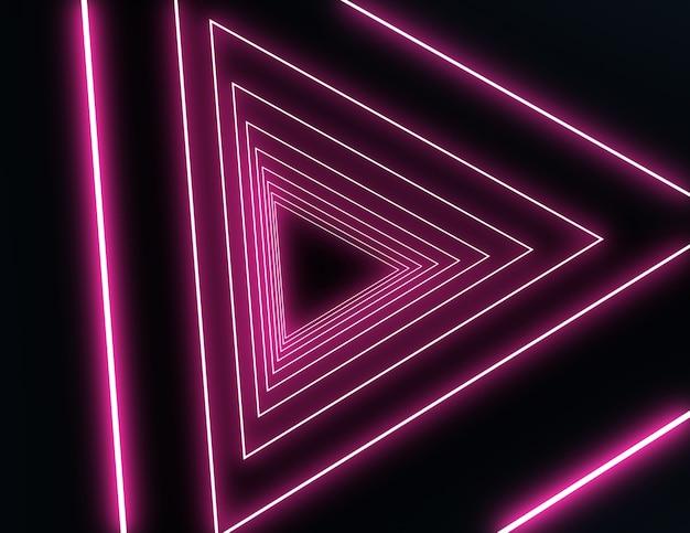 네온 불빛이있는 3d 네온 터널. 3d 그림