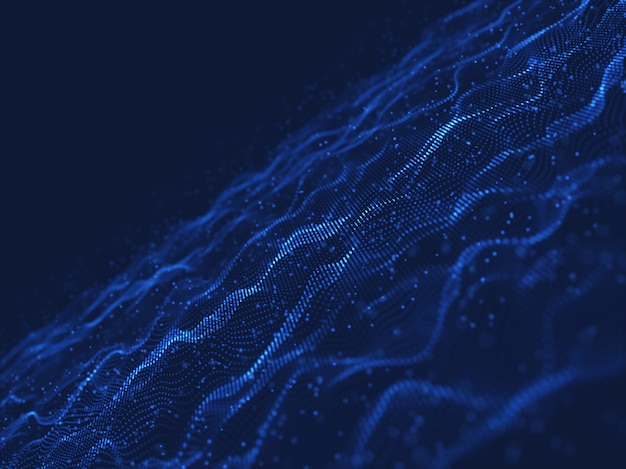 3d network communications background with flowing and floating particles