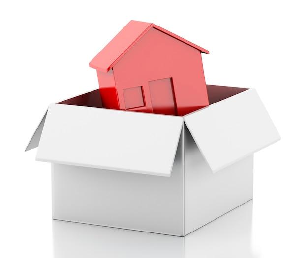 흰색 상자에 3d 새 집입니다.