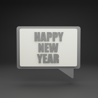 3d new year chat bubble on grey background