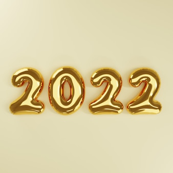 3d new year gold balloon on gold background