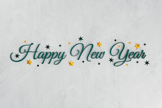 3d new year green with stars on concrete background