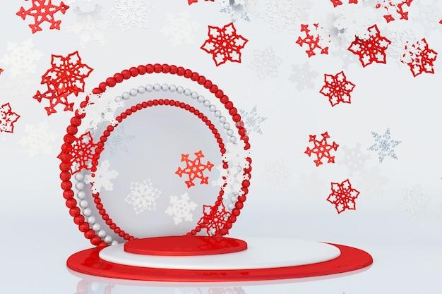 グリーティングカードのポスターバナーのための空飛ぶ雪片と3d新年の赤い表彰台お祭りスタジオ