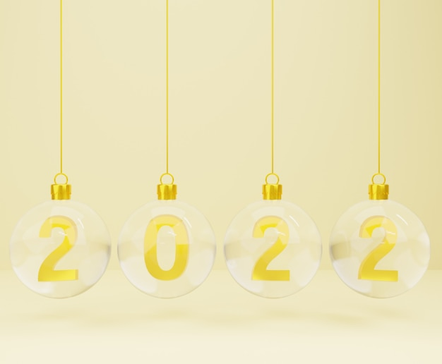 3d new year with christmas balls on gold background
