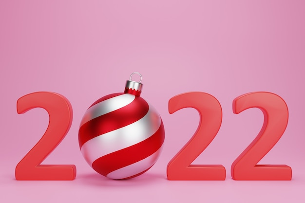 3d new year with christmas balls