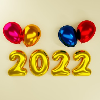 3d new year with colorful balloon on gold background