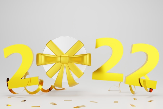 3d new year with gift present confetti on grey background
