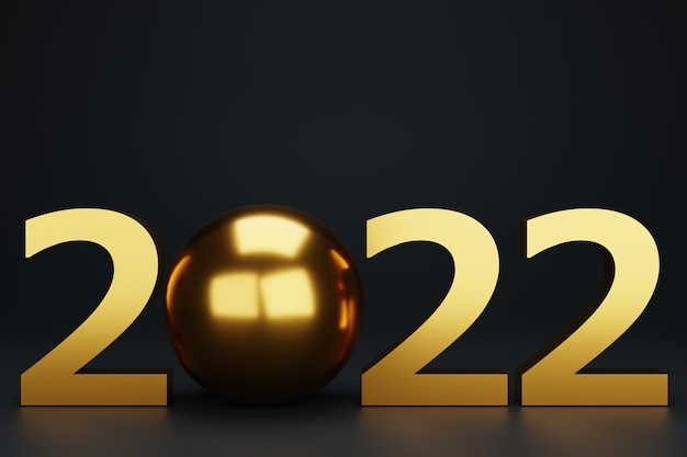 3d new year with gold christmas balls