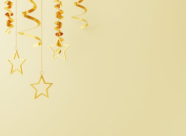 3d new year with gold stars and confetti on gold background