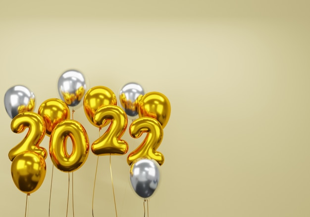3d new year with gold and white balloon on gold background