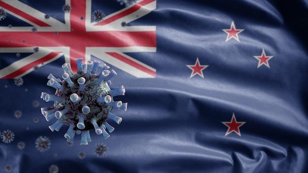 3d、ニュージーランドの旗を振る、コロナウイルス2019ncovコンセプト。ニュージーランドでのアジアでの発生、コロナウイルスはパンデミックと同様に危険なインフルエンザ株の症例としてインフルエンザに感染します。顕微鏡ウイルスcovid19のクローズアップ。