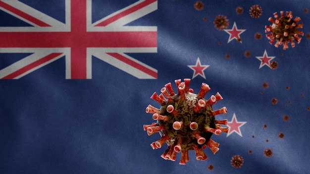 3d、危険なインフルエンザとして呼吸器系に感染するコロナウイルスの発生で手を振っているニュージーランド人の旗。ニュージーランド国民のテンプレートを吹くインフルエンザ型covid19ウイルス
