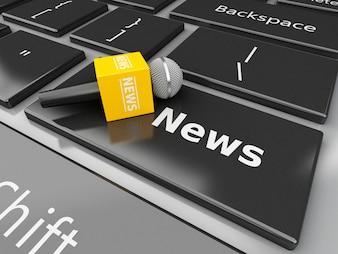3dニュースマイクロフォンとコンピュータのキーボードニュースのニュース。