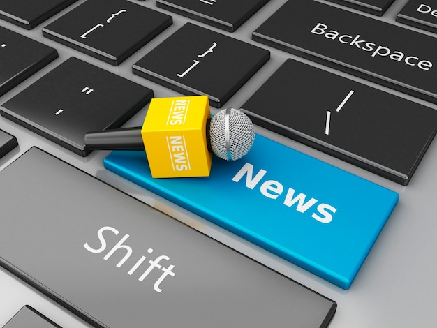 3d news microphone and computer keyboard with word news.