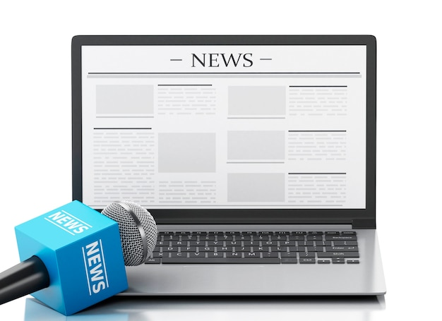 3d news microphone and laptop with news article.
