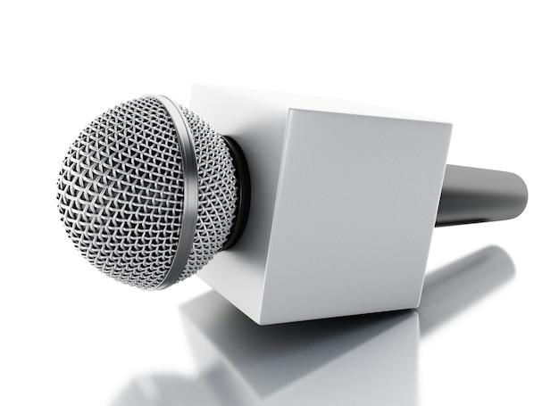 3d news microphone tv. news concept.