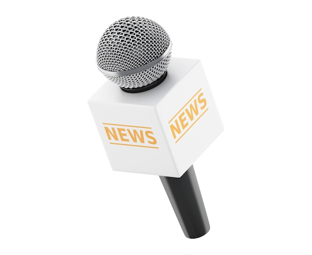 3d news microphone tv. news concept.