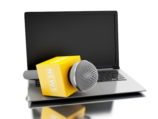 3d news microphone tv with laptop.