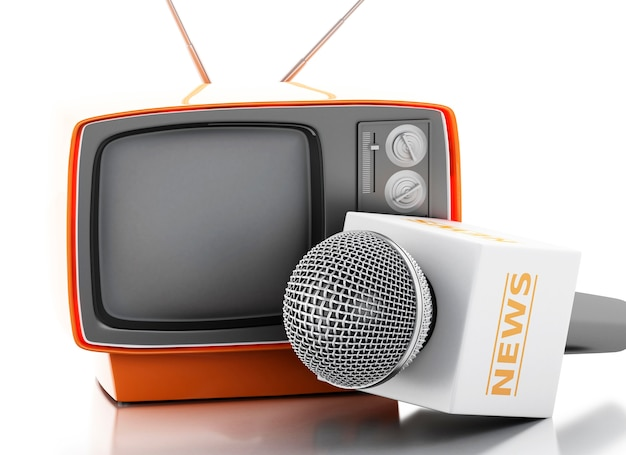 3d news microphone with retro tv.