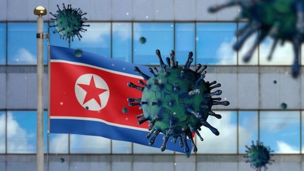 3d、北朝鮮の旗を振る、コロナウイルス2019ncovの概念。韓国でのアジアでの発生、コロナウイルスはパンデミックと同様に危険なインフルエンザ株の症例としてインフルエンザに感染します。顕微鏡ウイルスcovid19がクローズアップ。