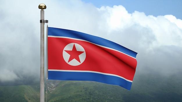 3d、雲のある山で風に揺れる北朝鮮の旗。韓国のバナーが吹く、柔らかく滑らかなシルク。布生地のテクスチャは、背景をエンサインします。建国記念日や国の行事のコンセプトに使用してください。