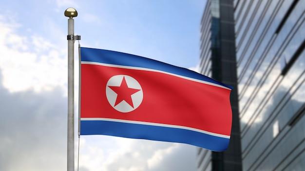 3d、現代の超高層ビルの街と風に揺れる北朝鮮の旗。滑らかなシルクを吹く韓国のバナー。布生地のテクスチャは、背景をエンサインします。建国記念日や国の行事のコンセプトに使用してください。