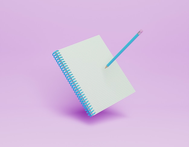 3d notebook with a pencil